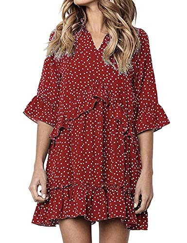 80s Polka Dot - Polka Dot Dress for Women 80S Vacation Classy Swing Peasant Knee Dresses Red M