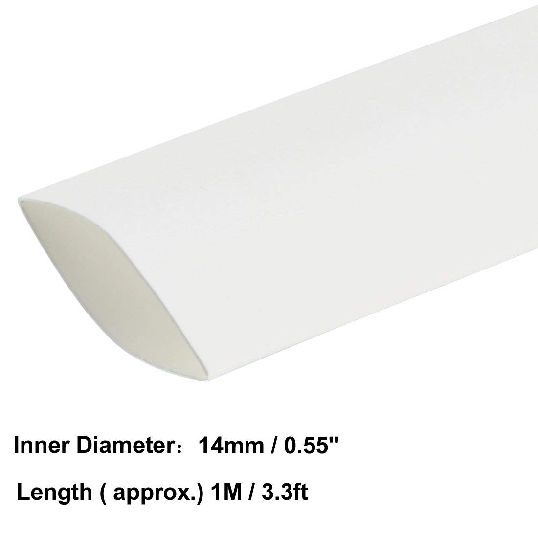1/ Tube disolation /électrique c/âble fil de tube Gaine Wrap Blanc 14/ mm de diam/ètre 1/ m de long Sourcingmap Heat Shrink Tube 2