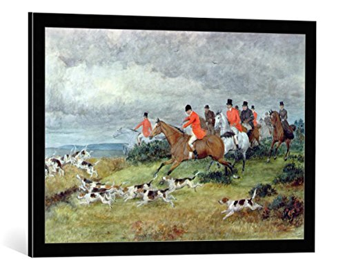 kunst für alle Framed Art Print: Randolph Caldecott Fox Hunting in Surrey 19th Century - Decorative Fine Art Poster, Picture with Frame, 31.5x21.7 inch / 80x55 cm, Black/Edge Grey
