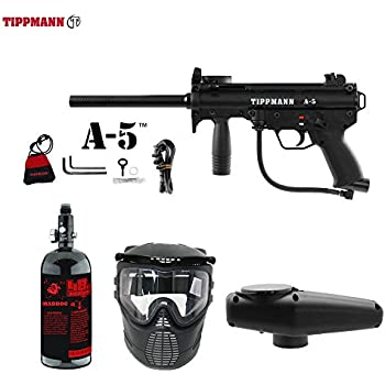 Tippmann A-5 Standard Beginner HPA Paintball Gun Package - Black