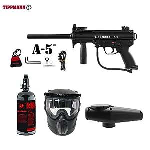 MAddog Tippmann A5 A-5 Standard Beginner HPA Paintball Gun Package - Black