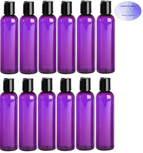 4 Ounce PET BPA-Free Plastic Empty Refillable Cosmo Round Bottles With Disc Caps 12 count, Purple