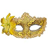 Laser-Cut Metal Black Venetian Women's Masquerade Mask Tubular Flower Halloween Party Mardi Lace Mask (Gold)