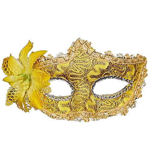 Laser-Cut Metal Black Venetian Women's Masquerade Mask Tubular Flower Halloween Party Mardi Lace Mask -