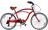 Fito Men's Marina 2.0 Aluminum Alloy 7 Speed Beach Cruiser Bike, Red, 18'/One Size
