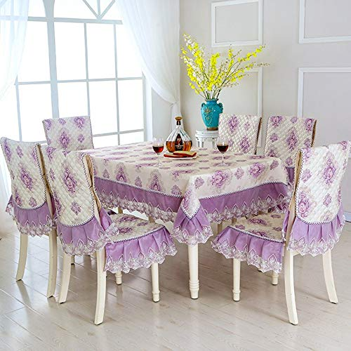 9pcs/set Pastoral Style Rectangle Table Cloth with Chair Covers Lace Edge Tablecloth for Wedding Dining Table Cover Tablecloths   B07R4LN9P9