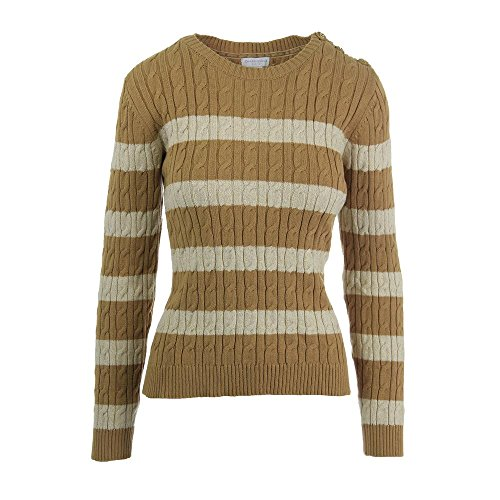 Charter Club Cream Button-Shoulder Striped Cable-Knit Sweater ()