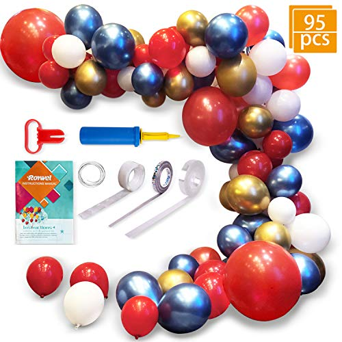 Latex Balloons for Garland,Parties Balloon Arch Ganland Kit 95 Pieces | Red | Blue | Gold | White Balloons for Baby Showers, Weddings, Graduations, Corporate Events, Engagements -