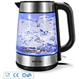 BESTEK Electric Glass Kettles, 3000W fast boil kettle, Blue LED illumination, 1.7 Electric Cordless Kettle, BPA Free