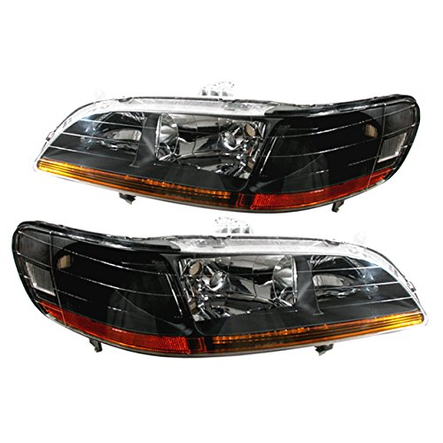 For Honda Accord CG Coupe/Sedan JDM Black Housing Clear Lens Amber Reflector Headlight Front Driving Headlamp Upgrade Replacement Pair
