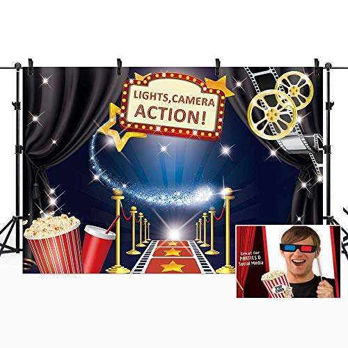 Hollywood Movie Backdrop Free Stage Masks Award Ceremony Red Carpet Photography Background 7x5ft Studio Cartoon Blue Kids Funny Props Photo Birthday Party Shoot Backdrop Blush Vinyl Cloth 60