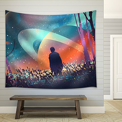 Man Standing Alone in Forest with Fictional Planets Background Illustration Fabric Wall