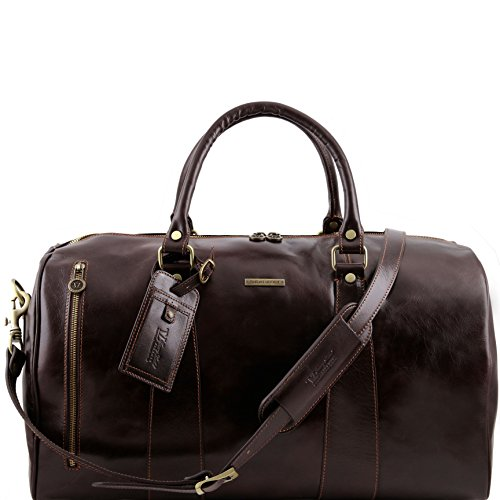 Tuscany Leather TL Voyager Travel leather duffle bag - Large size Dark Brown by Tuscany Leather