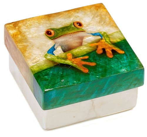 - Kubla Craft Tree Frog Capiz Shell Keepsake Box, 3 Inches Square