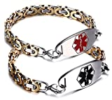 JF.JEWELRY Two-Tone Figaro Stainless Steel Link Medical Alert ID Bracelet for Men and Women,7.9 Inch