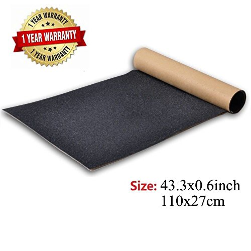 BooTaa Skateboard Grip Tape Sheet,43.3x10.6 inch, Bubble Free, Waterproof, Black Scooter Grip Tape, Longboard Griptape, Sandpaper for Rollerboard, Stairs, Gun, Pedal, Pistol,Wheelchair, Step(110x27cm)