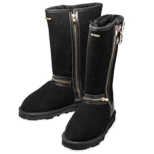 K.Signature Women's Ellie Tall Black Australian Sheepskin Boot 8 M (Australian Sheepskin Bootie)