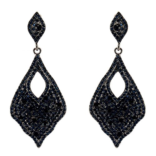 372-NAVY Dk BLUE Fashion Party & Wedding Jewelry Tear Drop Dangle Chandelier Alloy Rhinestone Earrings by Maxland