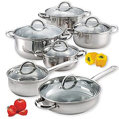 Food Network Premium Cookware Set 10 Piece Stainless Steel Cookware, Silver, Highly Durable, Glass Lid