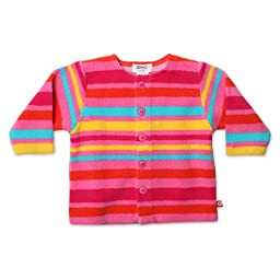 Zutano Infant Baby-Girls Fleece Bold Stripe Jacket, Fuchsia, 6 Months