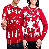 Men's Women's Ugly Christmas Sweater Kit New and Improved(Red,X-Large)