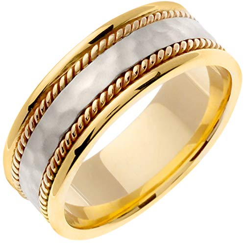 14K Two Tone (White and Yellow) Gold Braided Rope Edge Men's Wedding Band (8mm) ()