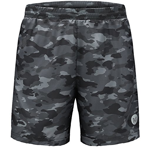 Rabrgab Men's Camo Fit Casual Quick Dry Jogger Workout Short Pants with Elastic Waist,S