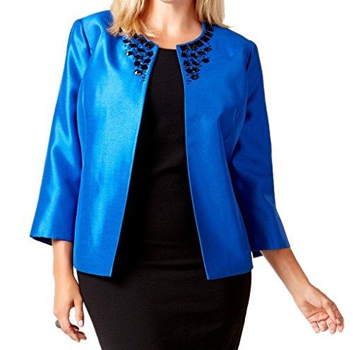 Kasper Women's Plus-Size Long Sleeve Flyaway Beaded Suit Jacket, Electric Blue, 20W