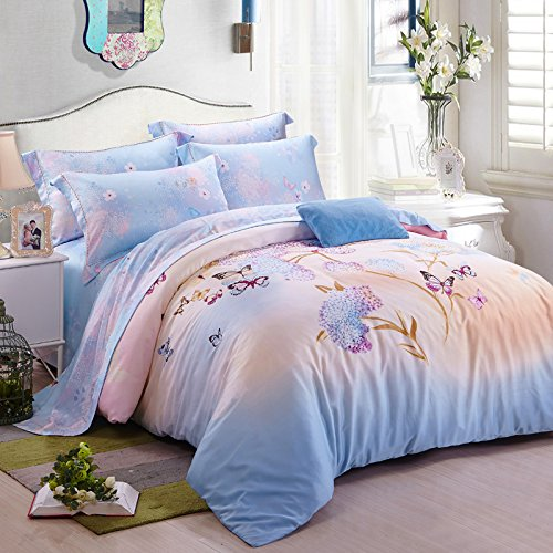 DHWM-The two sided Tencel 4 piece set, bed linen was set up, the wedding bedding, spring and summer kit ,2.0m