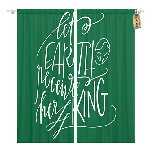 Golee Window Curtain Christian Let Earth Receive Her King Christmas Quote Carol Home Decor Rod Pocket Drapes 2 Panels Curtain 104 x 96 inches for $<!--$69.90-->