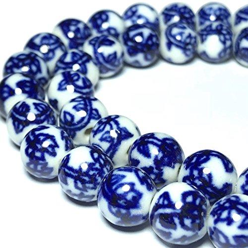Round Beads Porcelain ([ABCgems] Vintage Ceramic Porcelain (Lotus Flower) 9-10mm Smooth Round Beads)