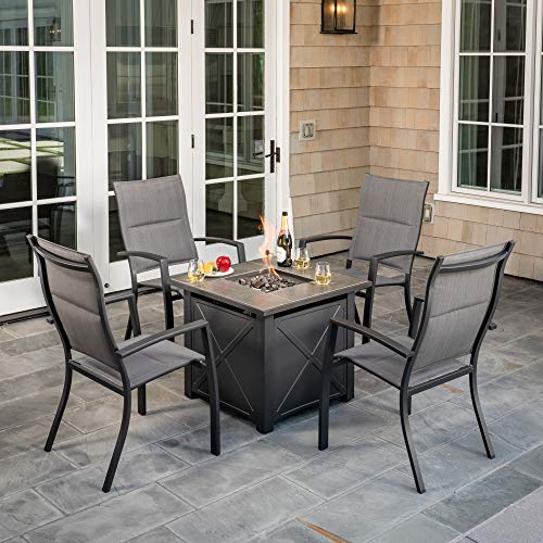 Hanover NAPLES5PCHBFP-GRY Naples 5-Piece Chat Set Featuring 4 Padded Sling Chairs and 40,000 BTU Tile-Top Fire Pit Table Outdoor Furniture, Gray (Patio Fire Propane With Set Pit)
