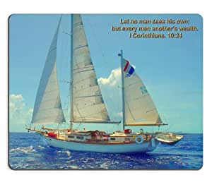 Sailboats on Blue Ocean Mouse Pads Customized Made to Order Support Ready 9 7/8 Inch (250mm) X 7 7/8 Inch (200mm) X 1/16 Inch (2mm) High Quality Eco Friendly Cloth with Neoprene Rubber MSD Mouse Pad Desktop Mousepad Laptop Mousepads Comfortable Computer Mouse Mat Cute Gaming Mouse_pad