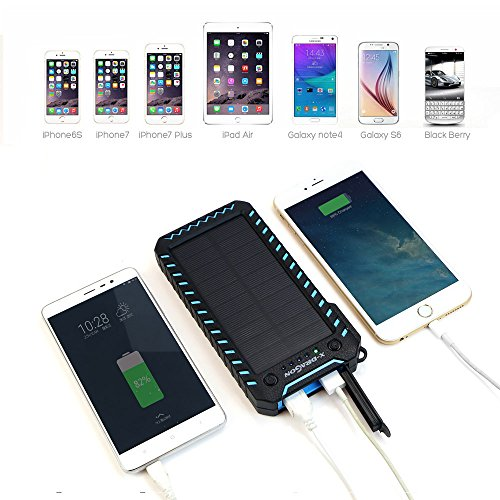 Solar Charger X DRAGON 15000mAh electricity Bank easily transportable Dustproof Shockproof twice USB Solar Panel Battery Charger together with twice extremely vibrant LED lightweight for iPhone Samsung Galaxy and alot more Blue Solar Chargers