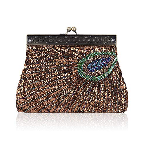 Handbag Enjoysports Brown Party Exquisite Peacock amp; Beaded Bag Glitter Beads Bridal for Evening Vintage Handmade Sequin Women Ball Wedding Bag Cluth Bags SwrZUq1nS