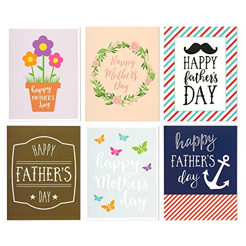 12-Pack-Jumbo-Mothers-Day-Fathers-Day-Greeting-Cards-6-Assorted-Unique-Multicolor-Designs-Bulk-Box-Set-Variety-Assortment-Envelopes-Included-85-x-11-Inches