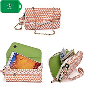 Huawei Honor 3X   Ladies smartphone holder plus wallet w/ crossbody chain  tangerine orange/white design universal