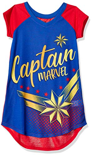 Marvel Girls' Big Captain Nightgown, Star Force Blue,