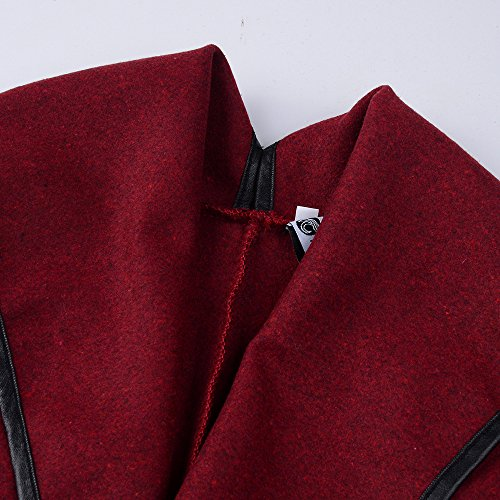 Rompevientos Cremallera Fiesta Sólido Moda Abrigos Coat Irregular Marca Mujer Otoño Elegante Color Rojo Alto Abrigo con Casual Originales Larga Cuello De Invierno Manga Chaquetas Outcoat qwIExOTx