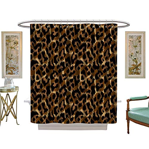 luvoluxhome Shower Curtain Collection by leopardvector Print Wallpaper Background Texture Satin Fabric Sets Bathroom W72 x ()