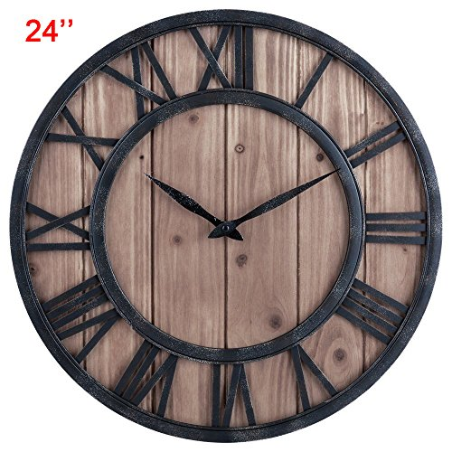 - Delong Rustic Country Style Vintage Metal & Solid Wood Noiseless Big Oversized Wall Clock (18'')