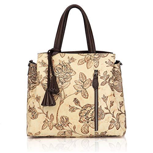APHISON Designer Unique Embossed Floral Cowhide Leather Tote Style Ladies Top Handle Bags Handbags - Leather Handbag Apricot