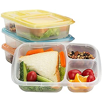 easylunchboxes 3 compartment bento lunch box containers set of 4 brights food box. Black Bedroom Furniture Sets. Home Design Ideas