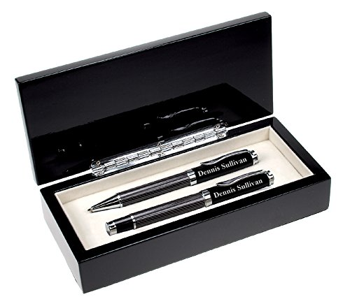 Executive Gift Shoppe | Personalized Black Glass Double Pen Set | Ballpoint Pen & Rollerball Pen | Free Custom Engraving | Perfect Business Gift | High Polished Carbon Fiber Finish & Presentation Box -