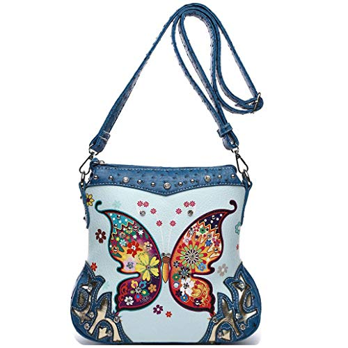 Butterfly Flower Concealed Carry Purse Women Spring Rhinestone Crossbody Handbags Single Shoulder Bag (Blue)