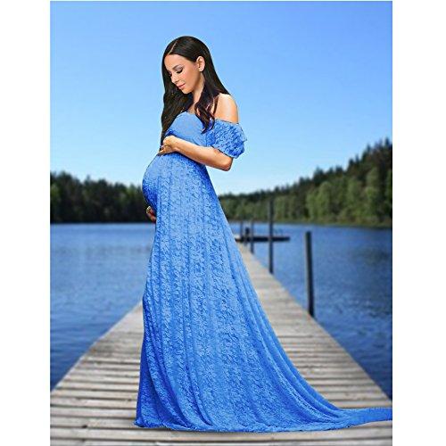 Vestito Del Fuori Le Di Vestito Sexy Spalla Cosyou Blu Abito Donne Maternità 5 gAq55Ew