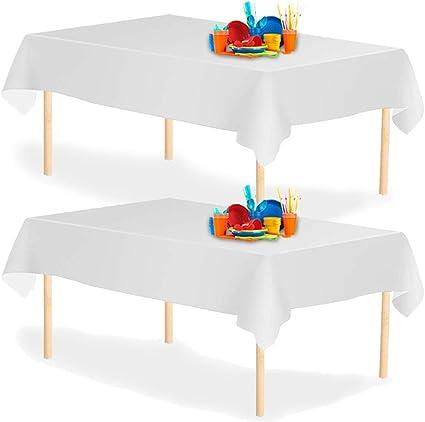 8 Pack 54x108Rectangle confezione da 8 pezzi matrimonio Tovaglia rettangolare usa e getta Natale dimensioni: 54 x 108 cm per tavoli interni o esterni Argento in plastica feste di compleanno