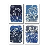 3Hdeko -Navy Blue Botanical Prints Wall Art for Bathroom Bedroom Living Room Decor, Abstract Royal Blue Plant Painting with Silver Glitter Embellishments, 4 Piece Framed Canvas Artwork 12x16inchx4pcs