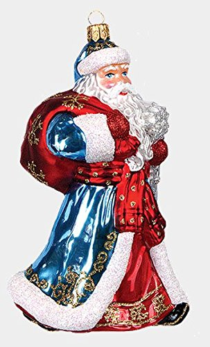 Pinnacle Peak Trading Company Russian Santa Ded Moroz Polish Mouth Blown Glass Christmas Ornament Decoration