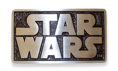 (Pewter Belt Buckle Cartoon Star Wars Logo)